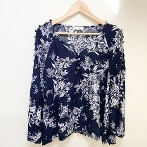 Entro blue floral buttons blouse long sleeves XS